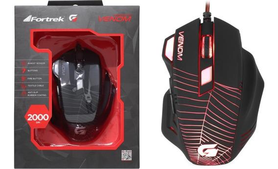 Mouse Gamer Venom Fortrek 2000 Dpi 7 Botões Original Avago