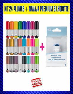 Plumas Silhouette Kit 24 Colores + Navaja Premium
