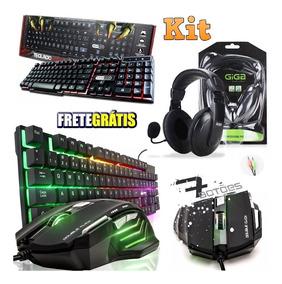 Kit Gamer Teclado Luminoso + Mouse 7 Botões Fone Headset Pc