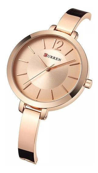 Relógio Dourado Feminino Curren Luxo Analógico Delicado Nfe