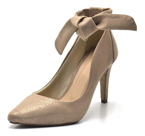 Sapato Scarpin Com Laço Salto Alto Fino Em Nobucado