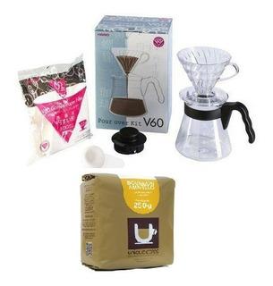 Kit Café Coado Hario V60 02 Barista + Café Especial 88 Pts