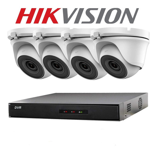 Imagen 1 de 9 de Kit 4 Camaras Seguridad Hikvision Dvr Full Hd 1080p