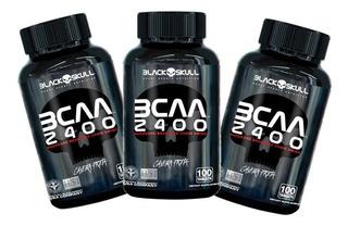 Kit 3x Bcaa 2400 - Caveira Preta - 100 Tabletes