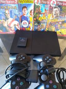 Playstation 2 Slim Destravado, 2 Controles,memory Card ,jogo
