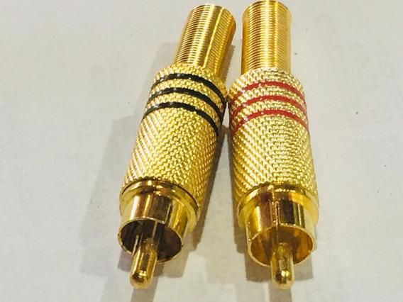 Kit 10 Plug Rca - 5 Pares - Conector Macho Metálico Dourado