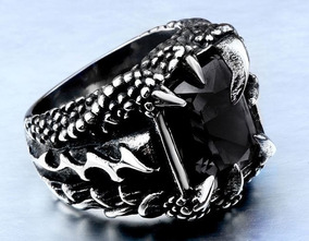 Anel Garra De Dragão Com Pedra Preta Zircônia Em Aço Inox