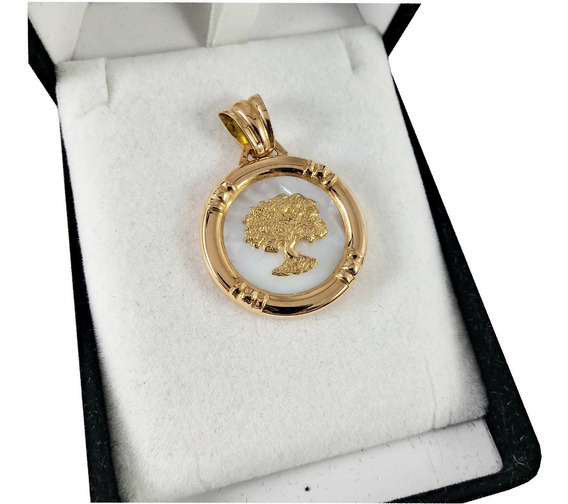 Medalla Oro 18k Arbol De La Vida Nacar