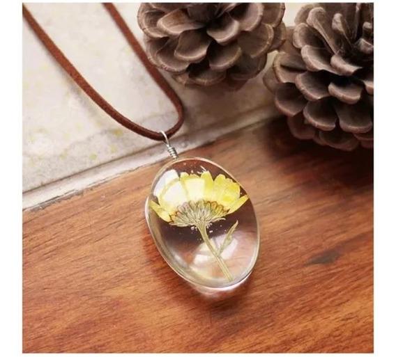 Colar Mini Girassol Flor Natural Hippie Cordão Dia Das Mães