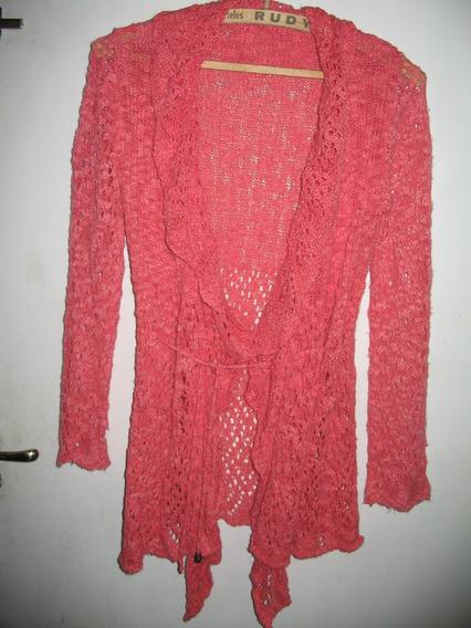 Saco Abierto Crochet Fucsiaa Divino Irregular Con Cinto Saco