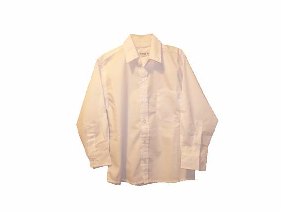 Camisa Colegial Blanca Y Celeste Talles 8-10-12