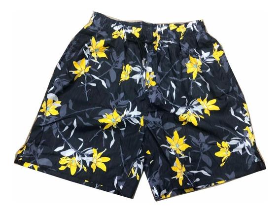 Kit3 Shorts Estampada Floral Tactel Elástico Com Cordão