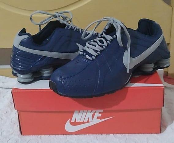 Tenis Nike Shox Junior Azul E Cinza Nº40 Original Na Caixa