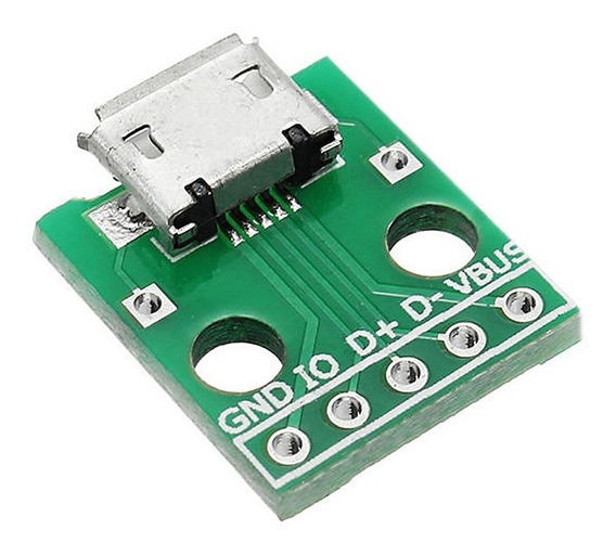 Usb Micro Conector Para Dip Breakout Pcb P/ Prototipos