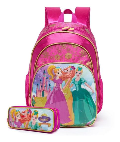 Kit Escolar Mochila De Costas Princesas Infantil C/ Estojo