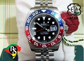 Relógio Gmt Master Jubileu Pepsi Azul Vermelho Safira Aut