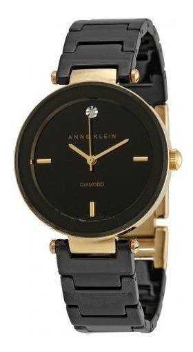 Relógio Anne Klein Feminino Preto Dourado Usado Original