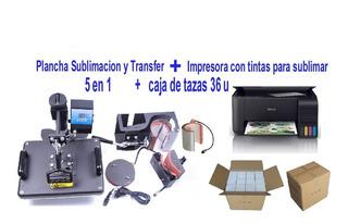 Plancha 5 En 1 + Impresora Para Sublimar + Caja De Tazas 36u