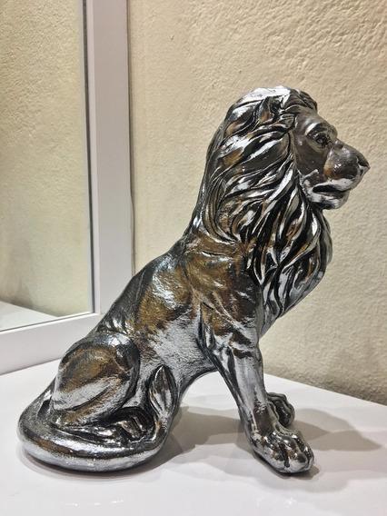 Estátua Enfeite Decoração Leão Sentado
