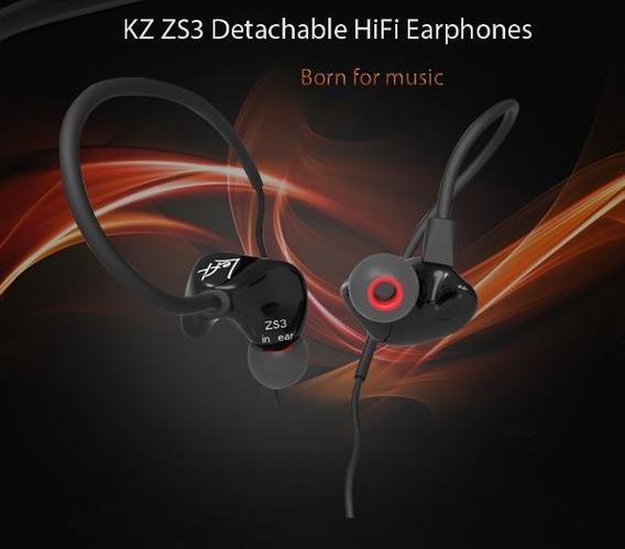 Fone In Ear Kz Zs3 Monitor Retorno C/mic Preto