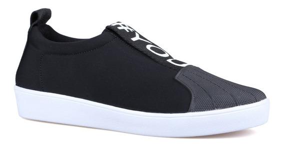 Tênis Casual Confort Slip On Preto Orcade