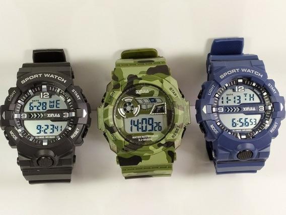 Kit Com 3 Relógios Masculino Esportivos Resistente A Água!!