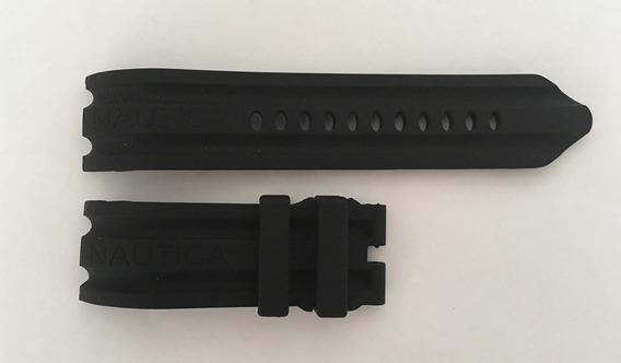 Pulseira Relógio Nautica 24mm Preta Silicone