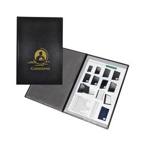 Cardapio Luxo Couro Nobre.185x275mm C/4 Folhas Acp Pct.c/08