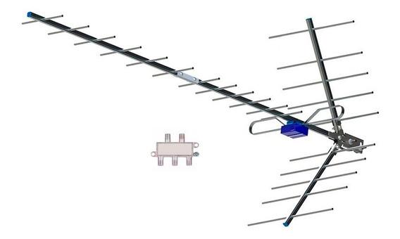 Antena Externa Digital Jacare Melhor Q Aquario + Divisor 4x