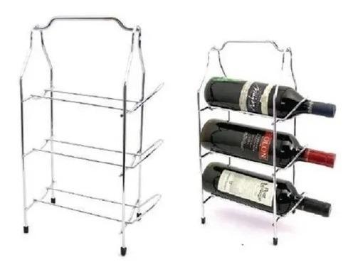 Bodega Cromada Para 3 Botellas De Vino Organizador Palermo