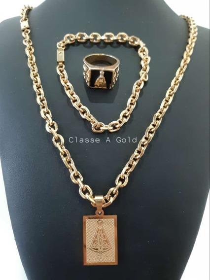Corrente Cadeado Banhada A Ouro 18k+ Pingente +pulseira+anel