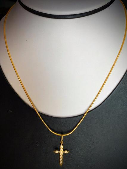 Colar Em Ouro 18k 6.3 Gr. 42cm.com Pingente.