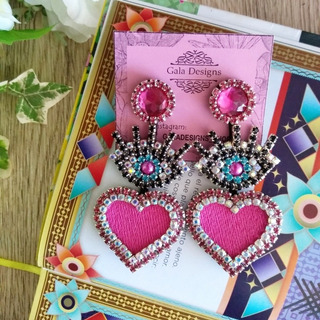 Zarcillos Ojo Turco Corazón Moda San Valentín Strass Vidrio