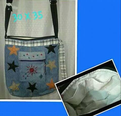 2 Bolsos De Jeans Celeste Combinado Con Cuerina De Colores