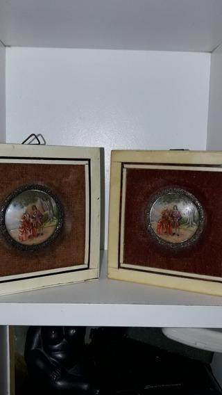 Par De Cuadritos Pintados Miniaturas Porcelana Limoges