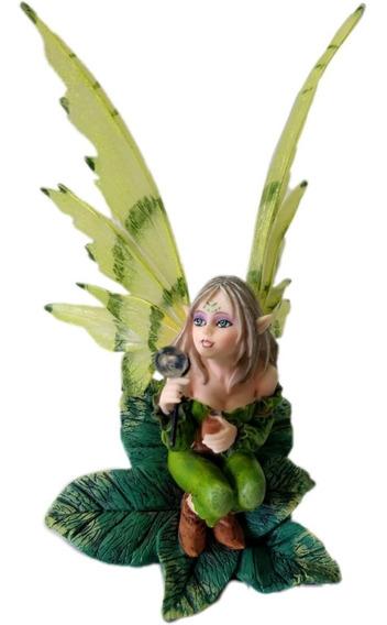 Bella Hada Verde Elfo Del Bosque En Fina Resina Envio Gratis