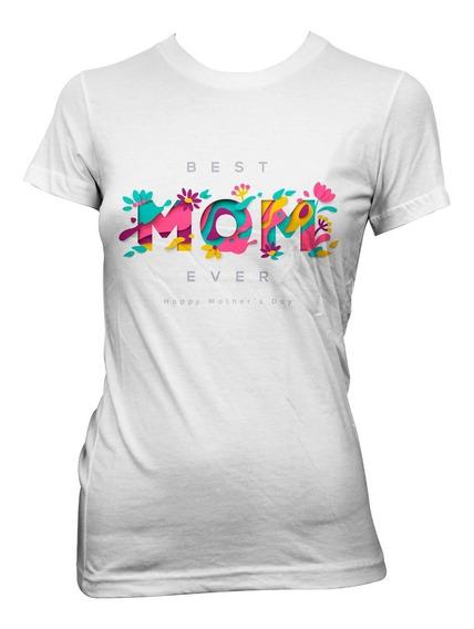 Playera Blanca De Algodón Con Diseño Flores Best Mom Ever.