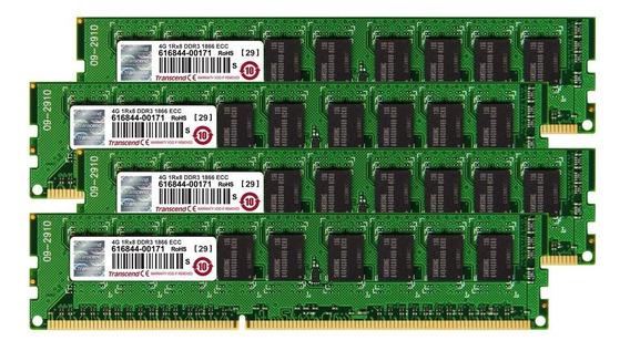 Memoria Ram 16gb Transcend Jet (4gb X 4 Kit) Ddr3- 1866 Ecc Unbuffered Dimm 1rx8 Para Mac Pro Late 2013 (ts16gjma545h)