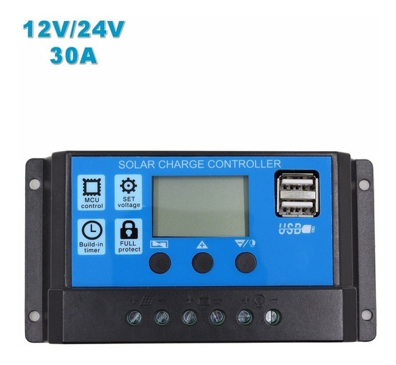 Controlador De Carga Placa Energia Solar 30 Amper 12/24v Usb
