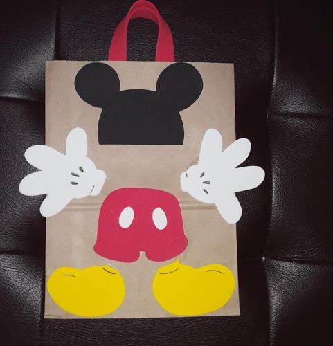 Mickey Mouse Bolsitas Papel Kraft Goma Eva Sorpresitas