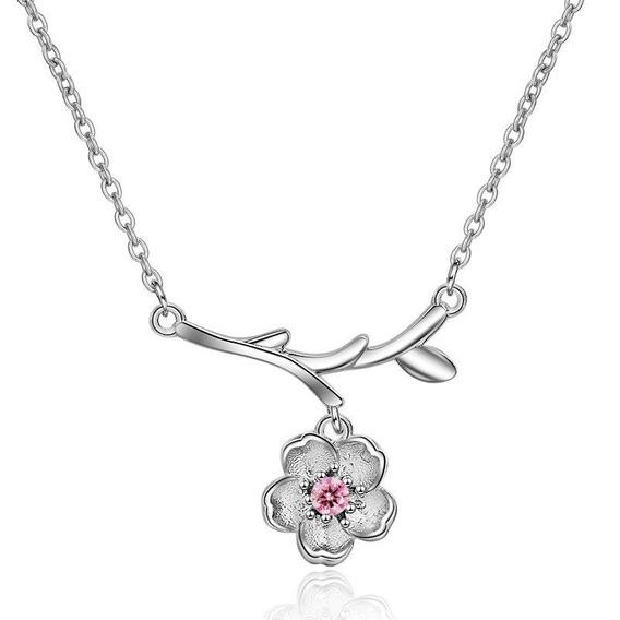 Collar Flor Pink Circonio Plata 925