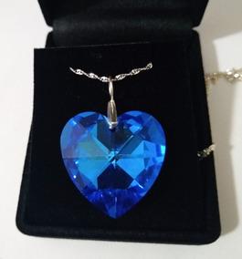 Colar Coração Cristal Swarovski Sapphire Boreal Em Prata 925