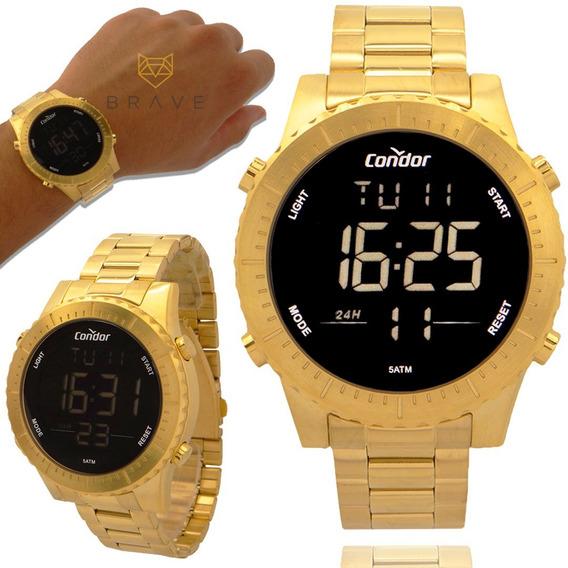 Relógio Masculino Dourado Condor Digital Ouro 18k Original