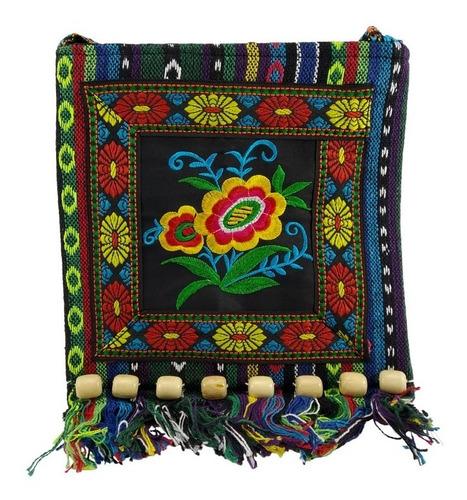 Imagen 1 de 5 de Bolsa Morral Hippie Vintage Bordado Floral Mod B3