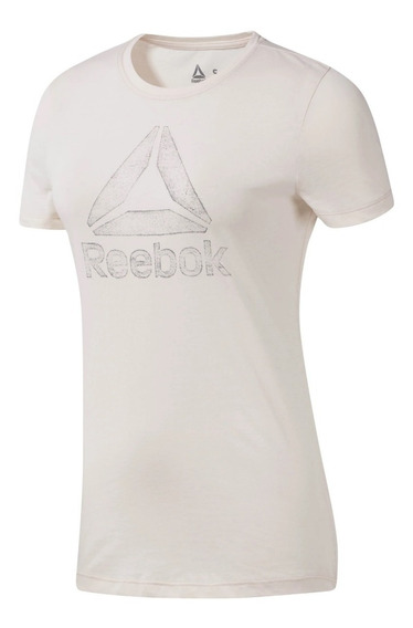 Reebok Remera M/c Running Mujer Graphic Beige