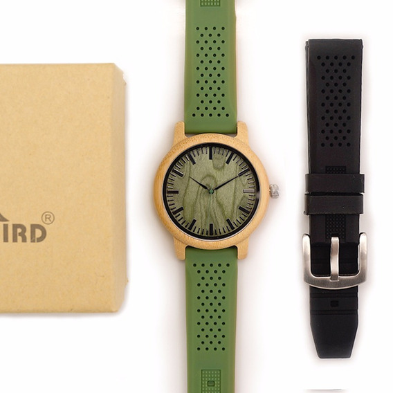 Relógio Masculino Bambu + Brinde Pulseira Extra Preta