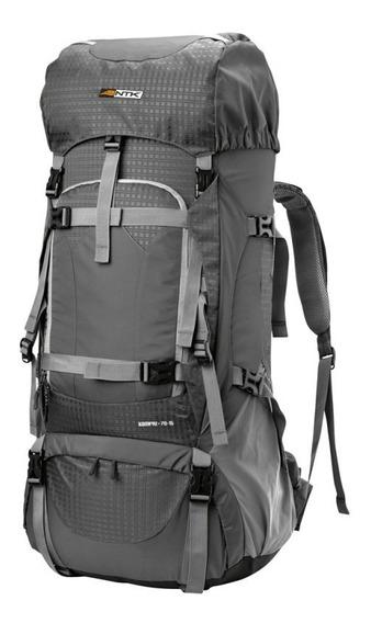 Mochila Nautika Kompaz Trekking Expandible 70+15 Litros Gris