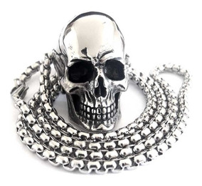 Corrente Cordao Pingente Caveira Aço Grande Cranio Punk Rock