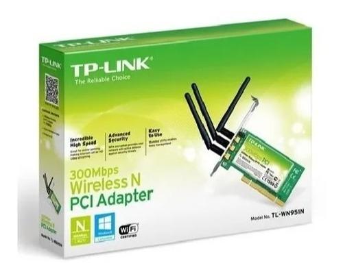 Placa De Rede Pci Wi-fi Tp-link 300 Mbps 3 Antenas