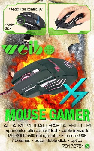 Mouse Gamer Ergonómico 7 Botones Luminoso